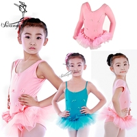 Children Long Sleeve Ballet Tutu Kids Pink Tank&Camisole Training Practicing Ballet Tutu Dress Girls CT2036