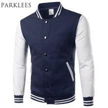 Classic Navy Blue Varsity Jacket Men/Women 2017 Autumn Mens Fashion Fleece College Baseball Jackets Bomber Veste Homme Xxxl