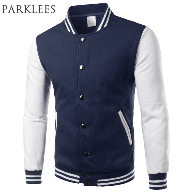 Classic Navy Blue Varsity Jacket Men/Women 2017 Autumn Mens ...