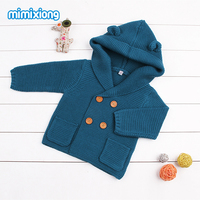Autumn 2017 Toddler Girl Cardigan Sweater Blue Sleeveless Hooded Kid Knitted Waistcoat Outerwear Winter Baby Boys