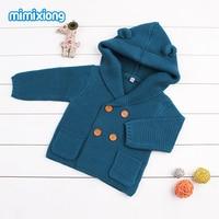 Autumn 2017 Toddler Girl Cardigan Sweater Blue Sleeveless Hooded Kid Knitted Waistcoat Outerwear Winter Baby Boys