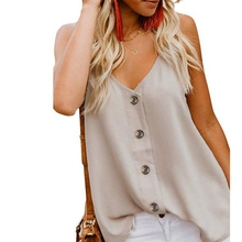 2019 New Women Solid Color V Neck Button Blouse Tops Sexy Sleeveless Blouses Shirts Women Casual Loose Summer Tops Femme sexy square neck solid color button embellished sleeveless romper for women