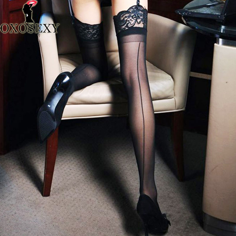 New Black Widen Lace Women Knee-High Stockings Back Seam Female Sexy Stockings Thigh Long Stay Up Stockings Sexy Lingerie 370