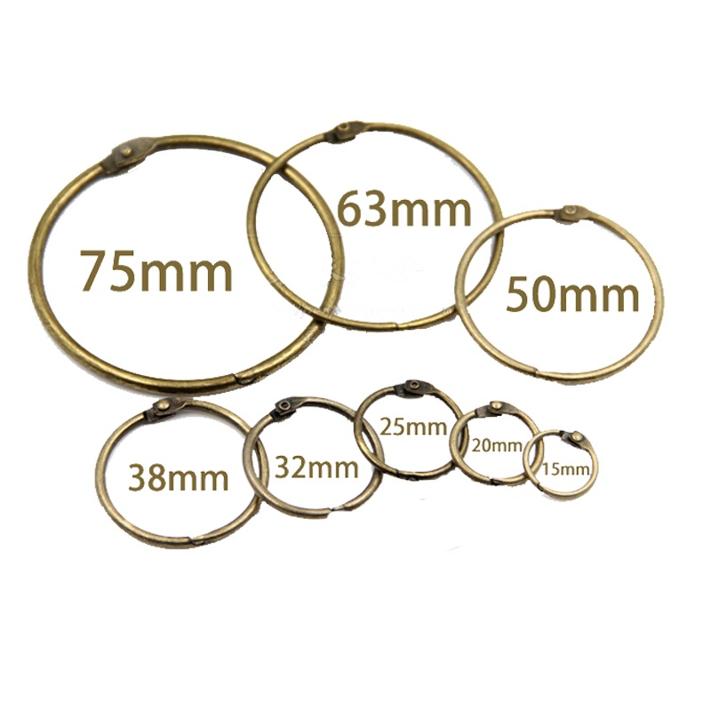 10Pcs 15 75mm Antique Brozen Loose Leaf Book Binder Hinged Rings Metal Book Rings For Album Scrapbook Office Circle Binding Ring in Binding Combs Spines from Office School Supplies