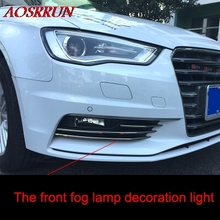 Stainless steel front fog light trim frame front fog light strip for audi A3 sedan 2013 2014 2016 car accessories car-styling