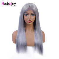Bestsojoy Grey / Red Color Lace Front Human hair Wigs Brazilian Straight Human Hair Wig Lace Front Wig Lace Wig Remy Human Hair