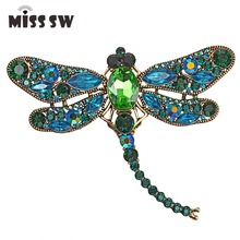 Vintage Design Shinny Crystal Rhinestone Dragonfly Brooches for Women Dress Scarf Brooch Pins Jewelry Accessories Gift