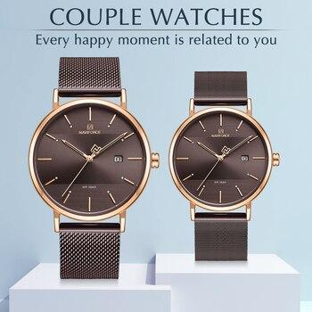 Top Luxury Brand NAVIFORCE Watches Suit Simple Quartz Women Men Wristwatch Waterproof Casual Male Ladies Couple Fashion Clock