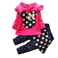 Girls clothes sets children's cartoon Minnie T-shirt + pants kids clothing leisure suit Dot flowers Floral hoodies free shipping