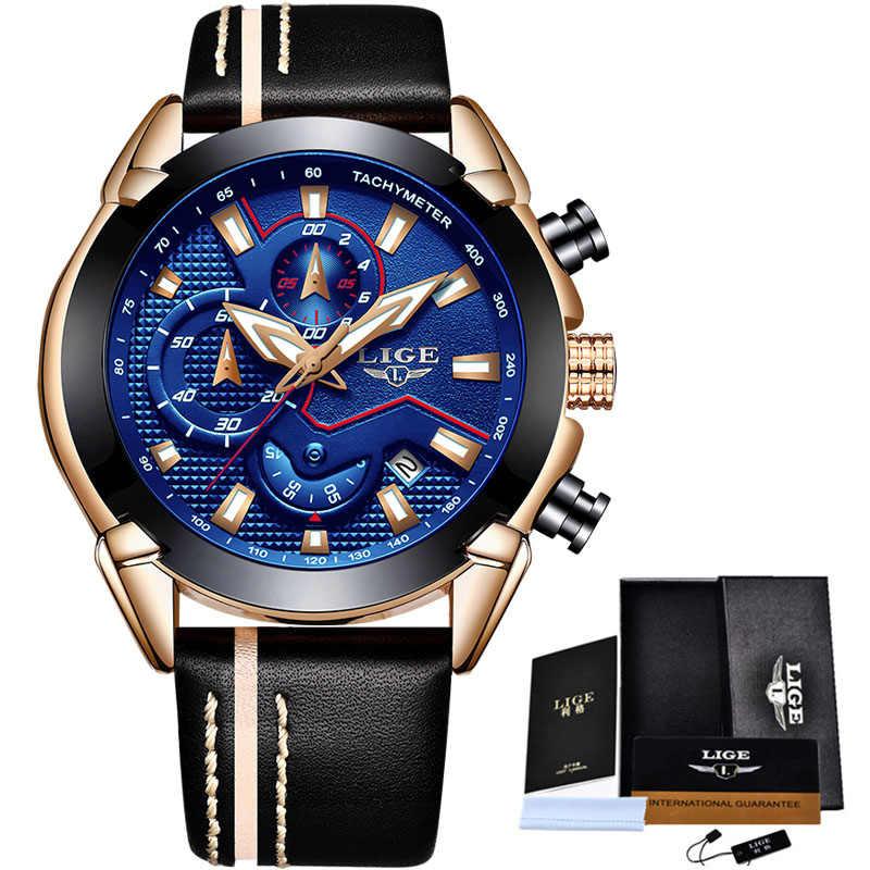 Reloj LIGE para hombre, marca superior, reloj deportivo militar de lujo, reloj de pulsera automático para hombre, reloj de cuarzo resistente al agua, reloj Masculino