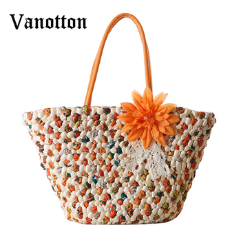 2018 Bohemian New Flowers Straw Knitted Bag Summer Holiday Essential Fashion Woven Shoulder Bag Beach Bag Handbags see through angel shirt