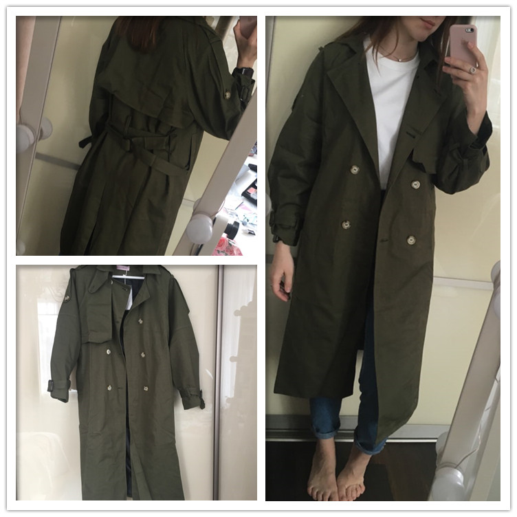 Russian autumn winter casual loose trench coat with sashes oversize Double Breasted Vintage overcoats windbreaker outwear 3