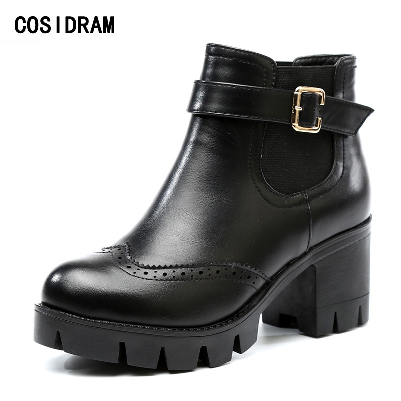 COSIDRAM Brogue Women Boots Thick High Heels Ankle Boots PU Leather Platform Winter Shoes Motorcycle Boots Ladies Shoes BSN-018 kibbu lace up high heels women punk style ankle boots thick bottom platform shoes european motorcycle leather boots 6 colors