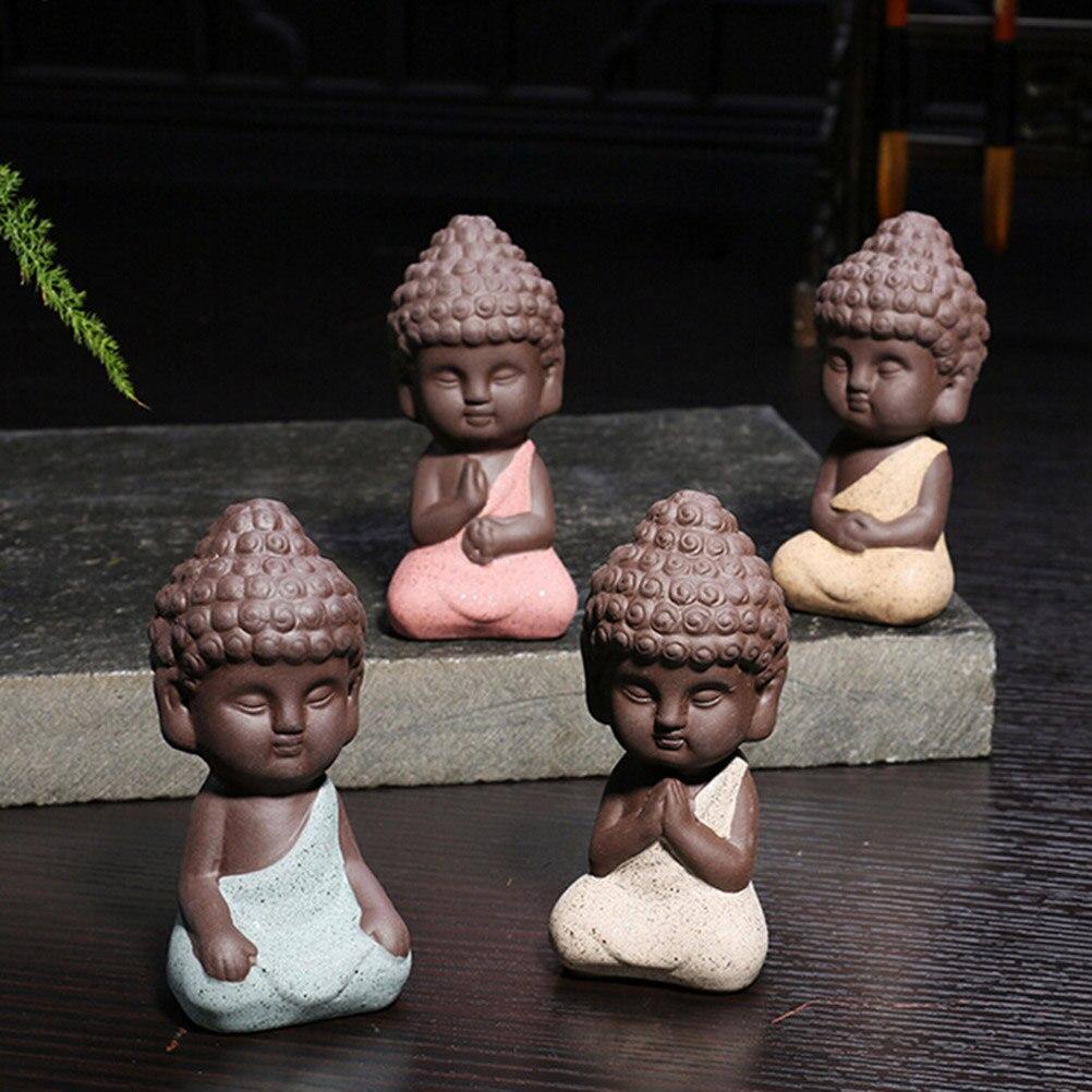 1pc New Ceramic Buddha Statue Monk Yixing Tea Pet Boutique Car Accessories Auspicious Ornaments Sand Flower Garden Decoration