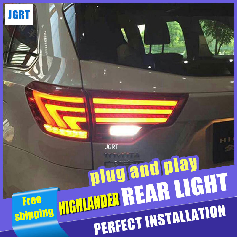 Car Styling Tail Lamp for Highlander tail lights 2015 For Toyota Highlander led tail light rear lamp signal+brake+drl+reverse jgd brand new styling for mitsubishi pajero sport tail lights 2009 2015 led tail light rear lamp led drl singal car lights