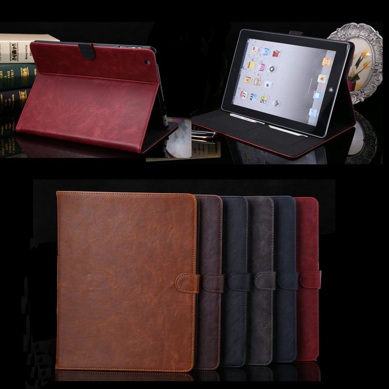 Hot Sale TOP HQ Gold Crazy Horse Smart Case For iPad 2 3 4 Cover Stand Tablet books case Designer Leather Cover For Apple ipad 4