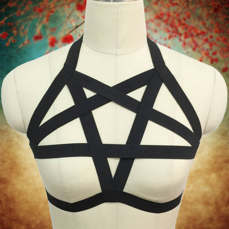 Women Goth Pentagram Harness Sexy Lingerie Harness Gothic Top Cage Bra Fetish Rave Wear Bondage Dress Harajuku Body Harness