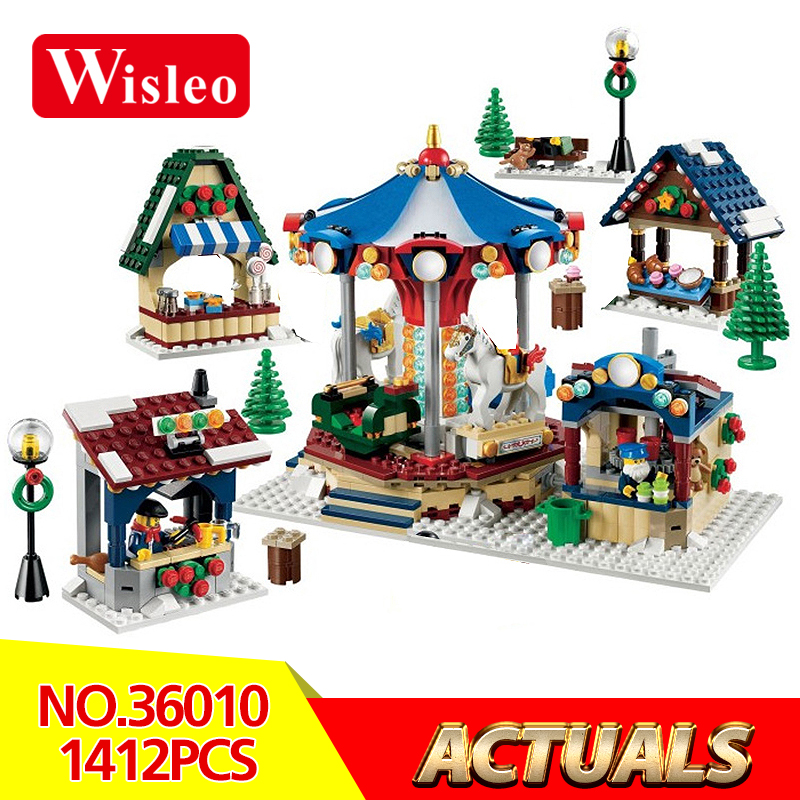 Wisleo 36010 1412Pcs Winter Village Market Set for Children Educational Building Blocks Bricks Toys Compatible LegoINGlys 10235 lepin 36010 genuine creative series the winter village market set legoing 10235 building blocks bricks educational toys as gift