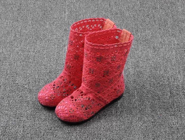 (A241)18 Classical Kids Shoes Summer Girls Boots Knitting Hollow Children Shoes Fashion Network Boots For Girls 14