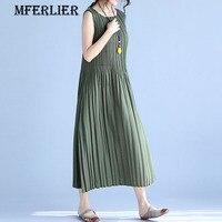 Mferlier Elegant Solid Slim Green Gray Black Pleated Summer Women Dress A Line O Neck Sleeveless