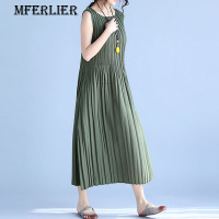 Mferlier Elegant Solid Slim Green Gray Black Pleated Summer Women Dress A Line O Neck Sleeveless