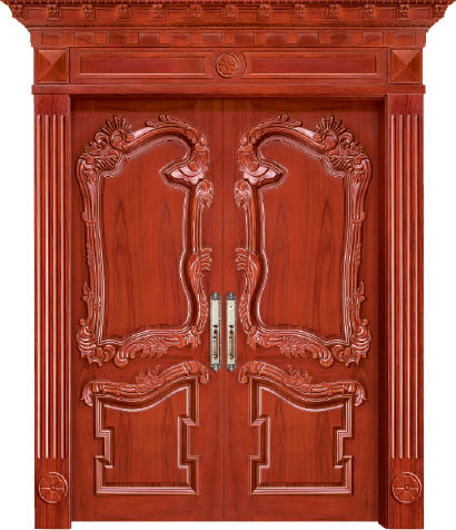 2016 Hot Sale Top Quality Entry Solid Wood Door Enterior Wooden Door Hotel Security Doors Antique Villas Door ID1606A002