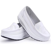 Women genuine leather shoes female wholesale flats shoes girl casual comfort low heels flat loafers nurse shoes