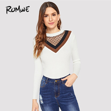 7c97ac4fe ROMWE White Mesh Panel Chevron Jumper Women Casual 2018 Autumn Clothes Long  Sleeve