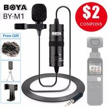 BOYA BY M1 Vlog אודיו וידאו שיא מיקרופון עבור iPhone אנדרואיד Mac דש מיקרופון Lavalier מיקרופון עבור DSLR מצלמה למצלמות