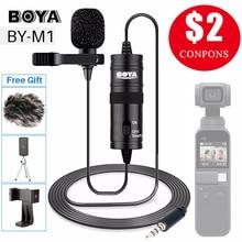 BOYA micrófono para grabar vídeo, Audio Vlog, para iPhone, Android, Mac, Lapel, Lavalier, para cámara DSLR