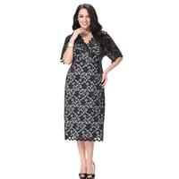 Women Maxi Dress Vestidos Black V Neck Evening Elegant Party Dress Plus Size 6XL 7XL Autumn