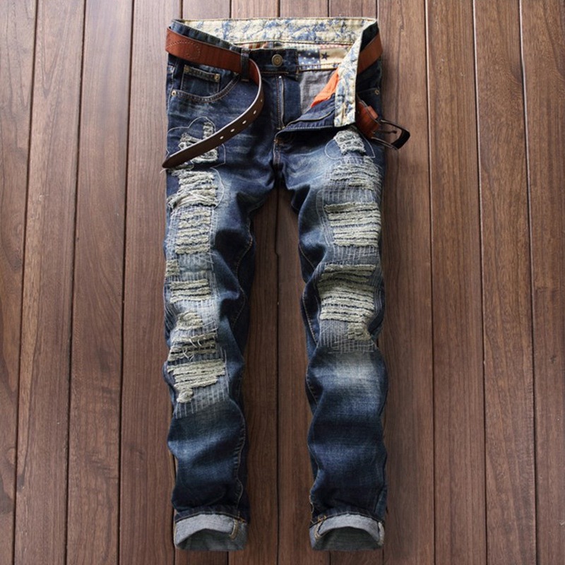 Famous Brand Designer Ripped Jeans Men High Quality Vintage Straight Denim Overalls Mens Joggers Biker Hole Jeans Brand Clothing famous brand mens jeans straight ripped biker jeans for men zipper denim overalls men fashion designer pants blue jeans homme