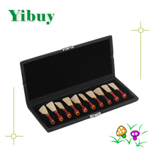 Yibuy Black Bassoon Reed Box Case with Flannel Slot Hold 10pcs Bassoon Reeds