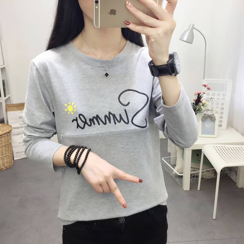 506# Cotton Casual Maternity Nursing T-shirt Autumn Spring Breastfeeding T Shirt For Pregnant Women Pregnancy Feeding Tops Tees