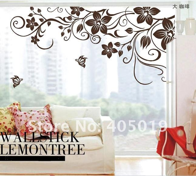 dm5769 flower vine pvc wall sticker 1.5m coffee color removable