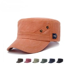 b8664004 2017 New Men Washed Cotton Dad Hat Classic Vintage Flat Top Short Brim Cap  Solid Trucker