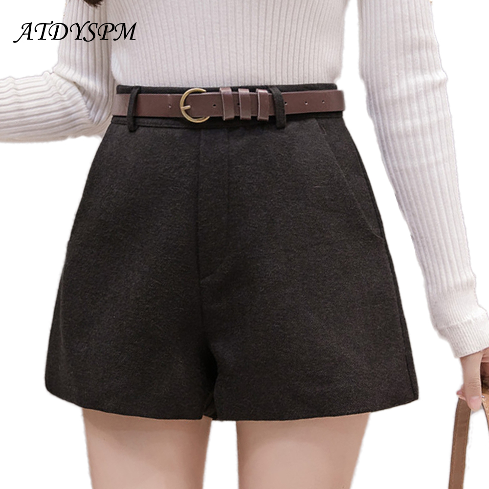 New Women Brand Fashion Wool   Shorts   Wide Leg A-Line Casual   Shorts   Female High Waist Thick Office Wear   Shorts   With Free Belt