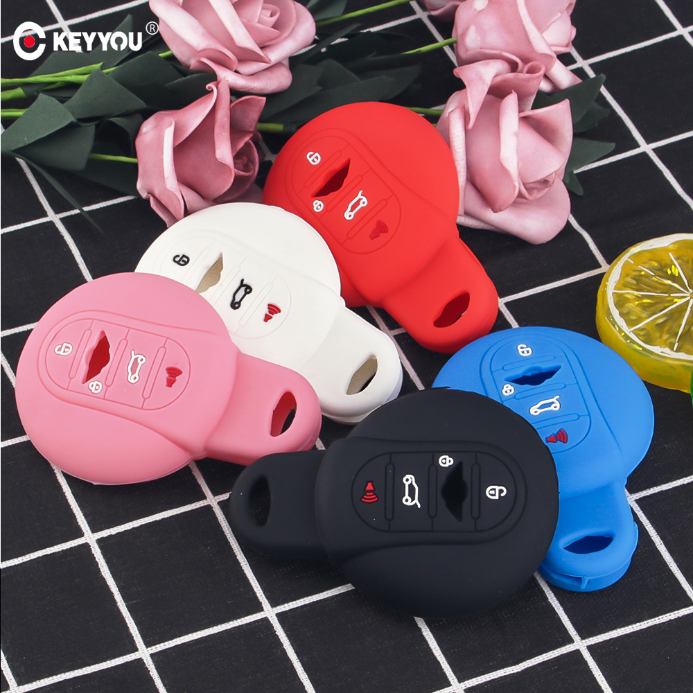KEYYOU Silicone Car Key Cover Case Car Styling For BMW <font><b>MINI</b></font> Cooper S R50 R53 F54 F55 <font><b>F56</b></font> 4 Button Remote Key <font><b>Holder</b></font> Cover Rubber image