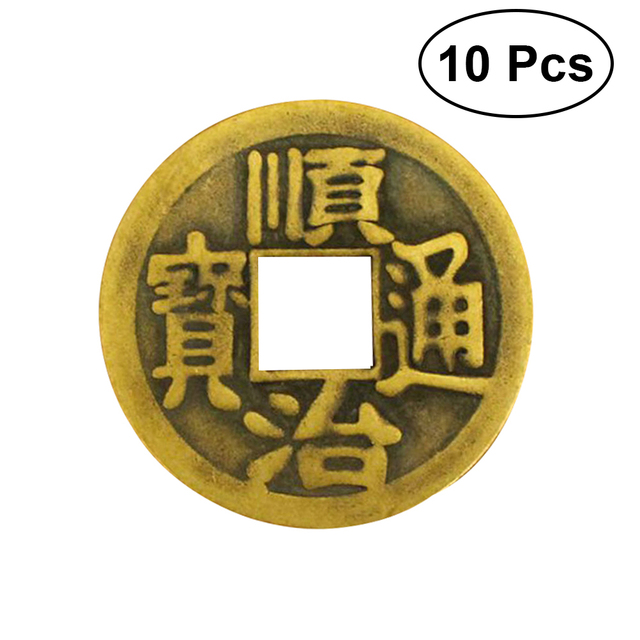 10pcs Chinese Feng Shui I Ching Divination Coins For Luck Success
