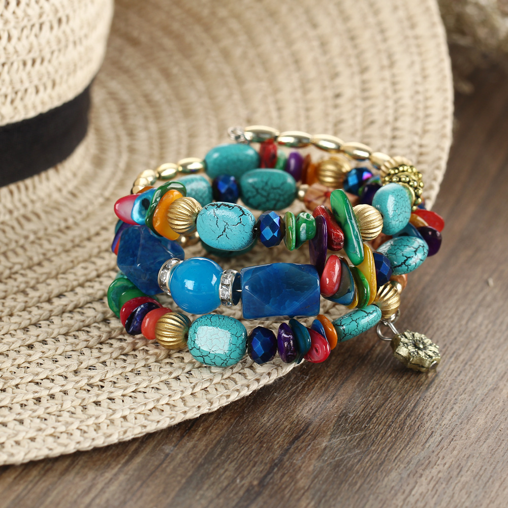 Sedmart Vintage Geomertric Natural Stone Bangles Bohemia Mulitlayer Alloy Bracelets For Women Jewelry bracelet