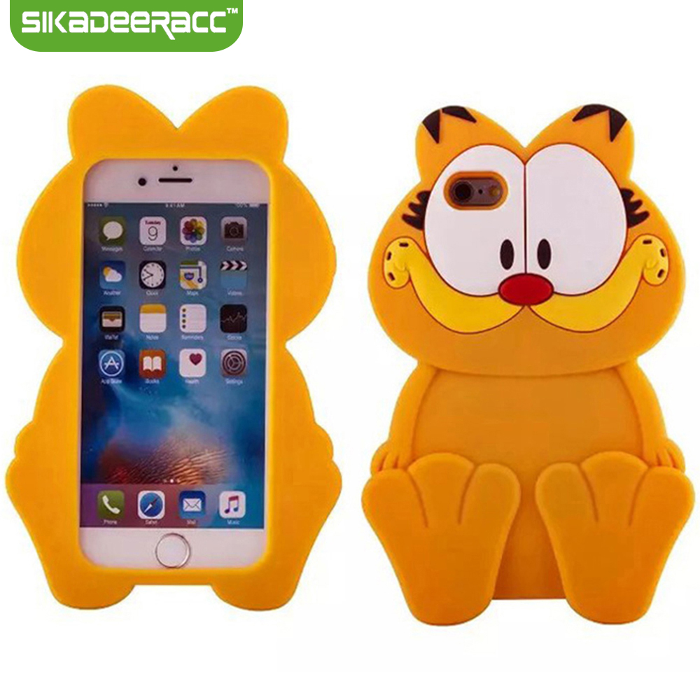 Cute 3D Silicone Phone Case Garfield For iPhone 5 6s 7 Plus Mobile Phones Shockproof Back Cover Shell Protector Accessories DC58