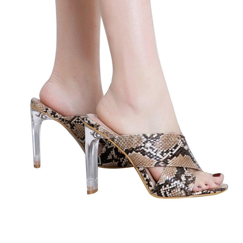 Snakeskin Glass Women High Heel Slippers Sandals Platform Shoes Summer Slipper Fashion Slides Round Toe Outside Basic
