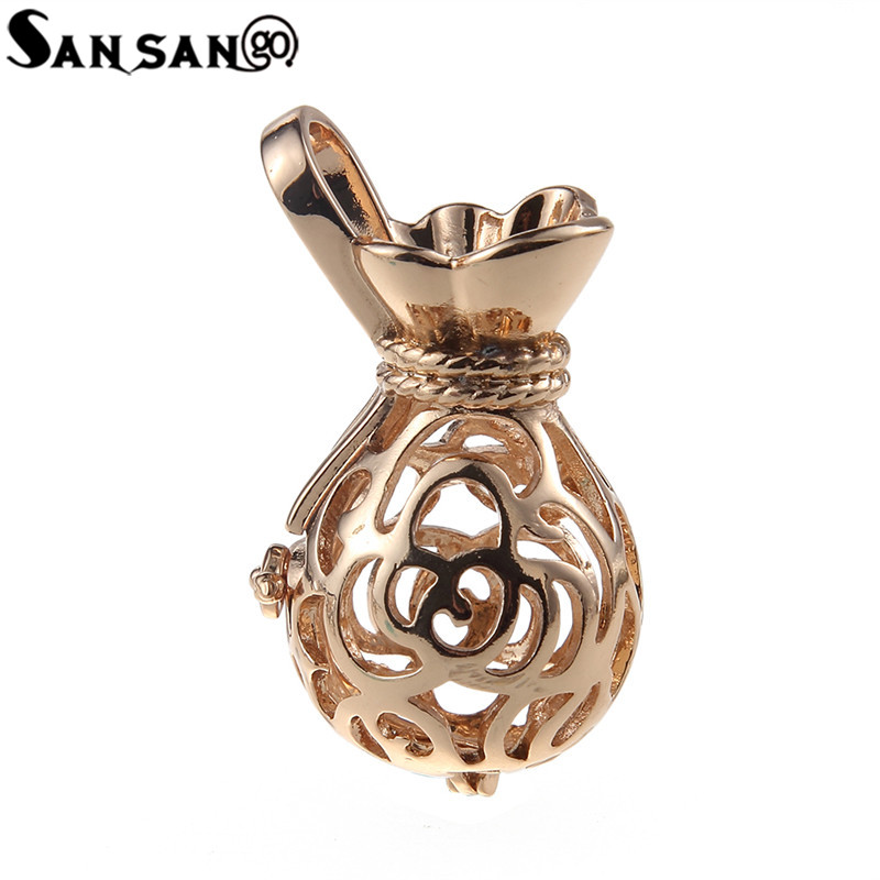 a4a46babb New Design Silver Gold Rose Flower Pattern Purse Essential Oil Diffuser  Pendant Lucky Meaning Locket charms For Making Jewelry