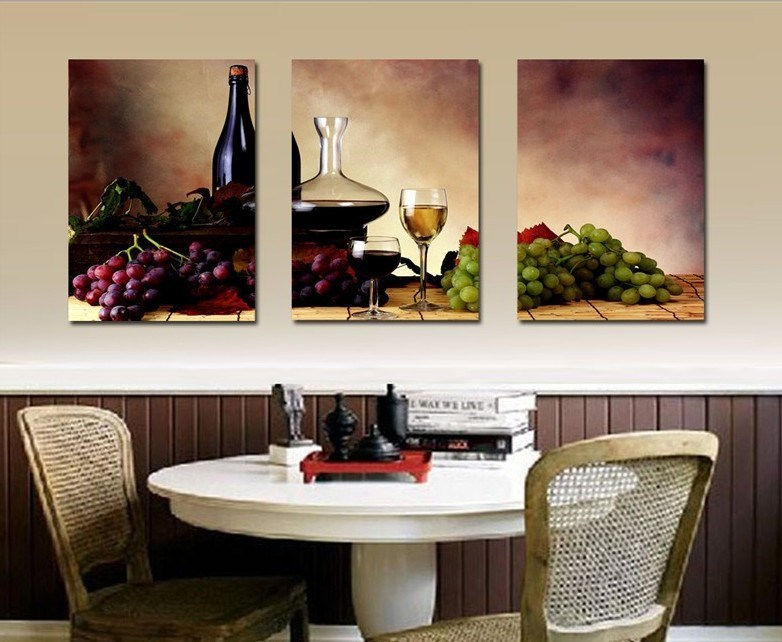 3 Pieces Modern Wall Oil Painting Abstract Wine Fruit Kitchen Art Picture Paint On Canvas Prints No Frame In Calligraphy From Home