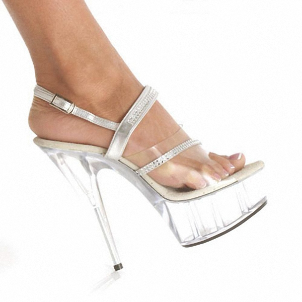 Elegant Clear 15CM Sexy Super High Heel Platforms Pole Dance shoes 6 inch silver Straps party shoes