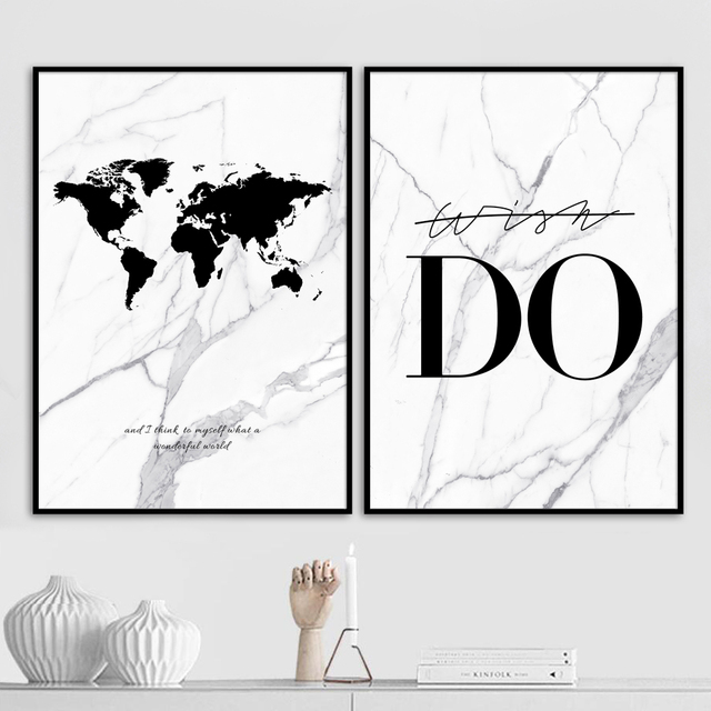 Marble Do World Map Canvas Painting Wall Art Print Nordic Posters And Prints Wall Pictures For Living Room Decoration Pictures