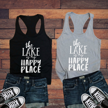 Vest Undershirt Singlet Goth Sleeveless Garment The Lake Is My Happy Place Ladies Tank Top Funny Adventure Slogan Grunge Tumblr