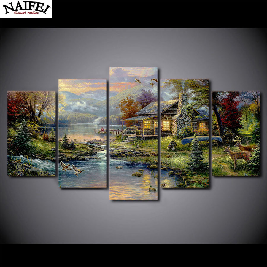 5pcs DIY painting Full square Diamond Painting Cross Stitch Mosaic stickers 5D Diamond Embroidery country house
