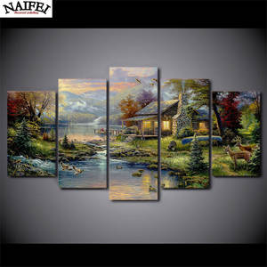 5pcs,DIY painting,Full square Diamond Painting Cross Stitch Mosaic stickers 5D Diamond Embroidery country house Home Decor gift