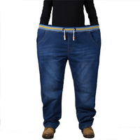 Jeans men elastic waist plus size full length denim pants very big size 36 to 48